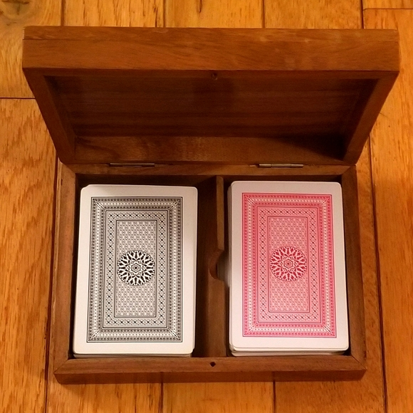 Set of Cards with Wooden Box Case